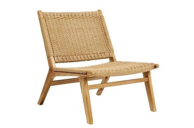 Image of   Club loungestol i teaktræ med flet - natur fra Nordal