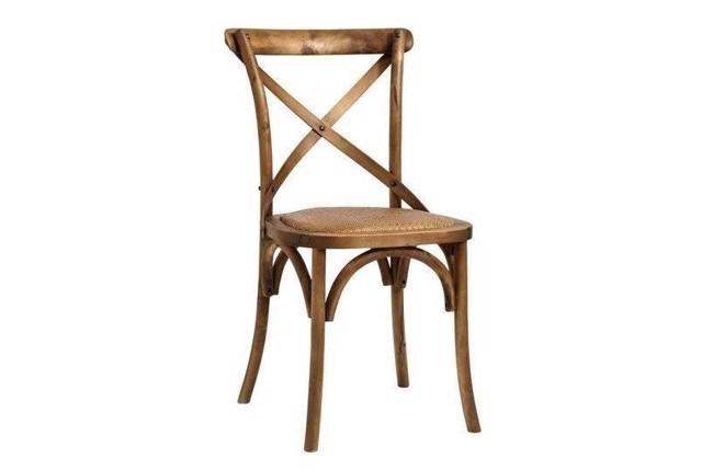 Image of   Cross spisebordsstol med kryds - natur fra Nordal