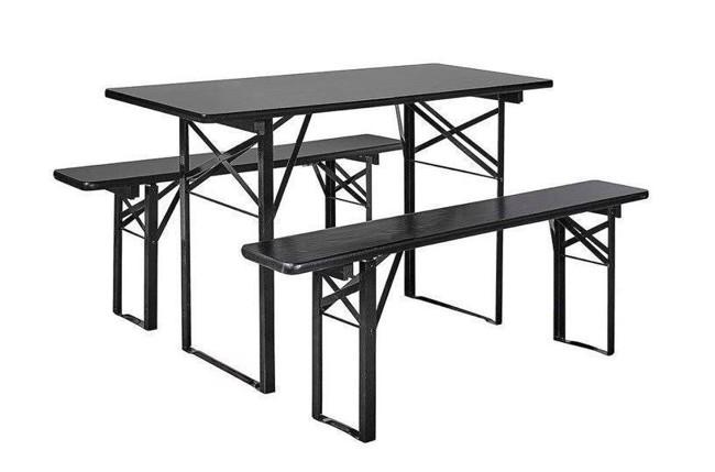 Image of   Havesæt med bord og bænke - 160x60 cm - sort fra Nordal