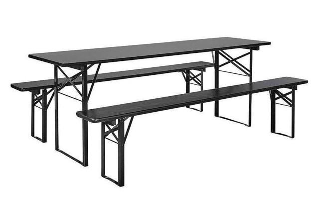 Image of   Havesæt med bord og bænke - 220x60 cm - sort fra Nordal