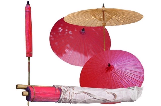 Image of   Thai haveparasol i bambus rød Ø 200 cm