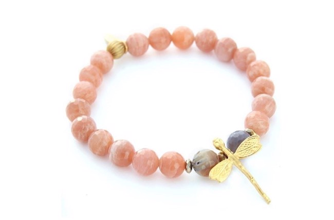 Image of   Pink moon stone armbånd med libelle i pink/guld fra Style Heaven