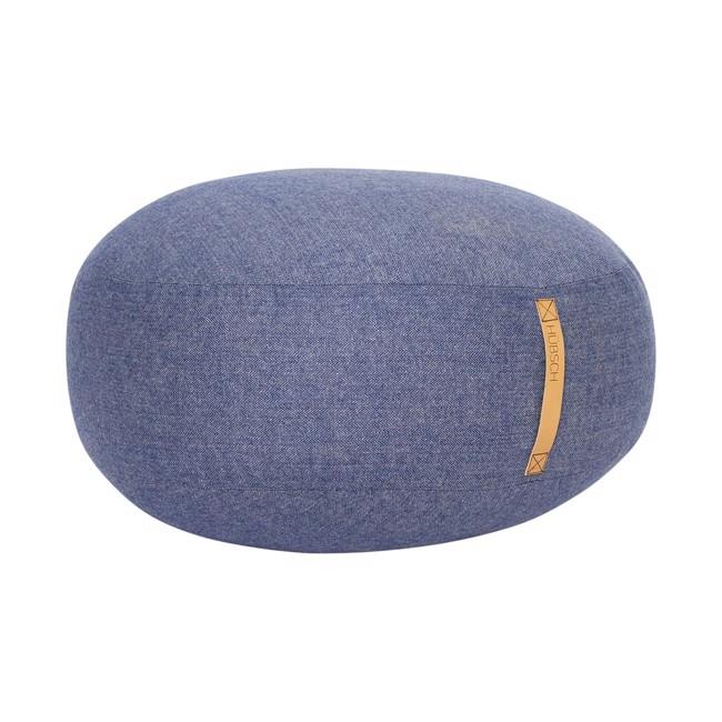 Image of   Puf m/læderhank, sildeben, uld, blå fra Hübsch