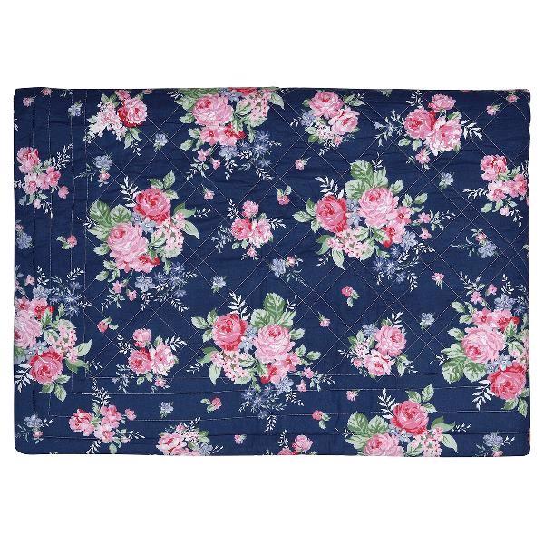 Image of   Rose sengetæppe/quilt i dark blue 140x220 cm fra Greengate