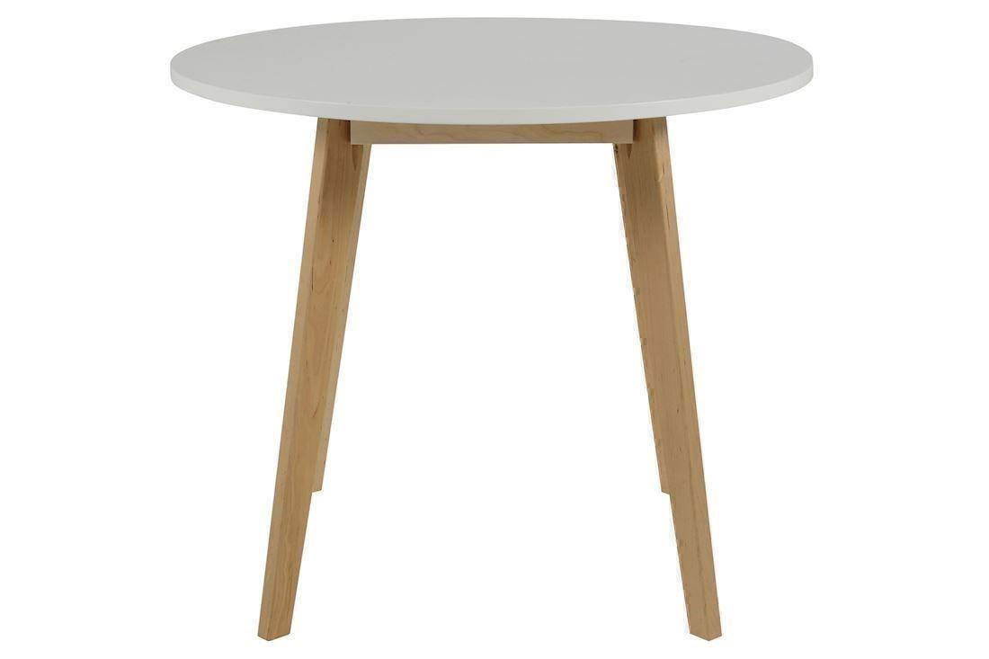 Enormt Raven rundt spisebord birketræ og hvid MI46