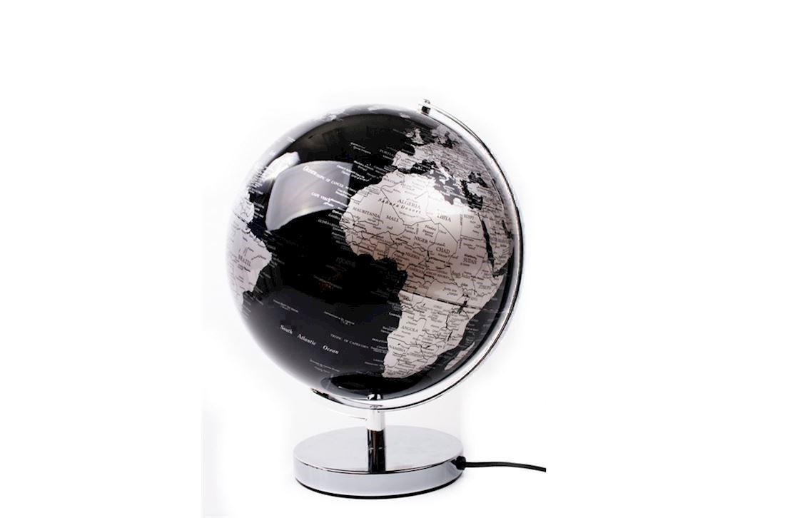 Ultra Sort og sølvfarvet globus med lys Ø30 cm fra Interstil KL06