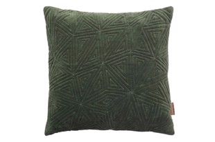 Velvet Quilted Ice Age pude i farven Army fra Cozy Living