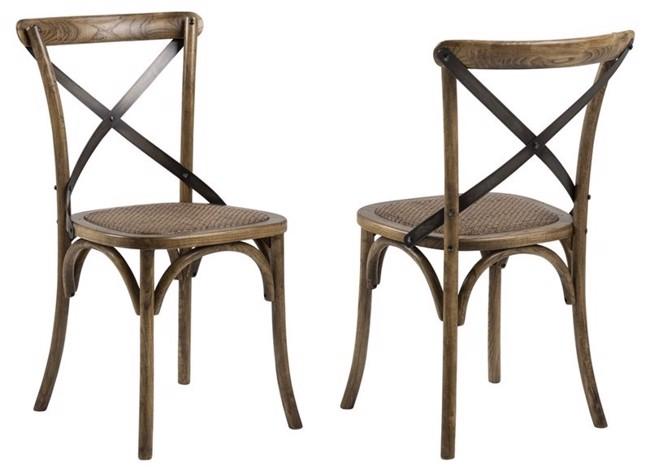 Vintage bistro spisestuestol med rattan sæde - Brun