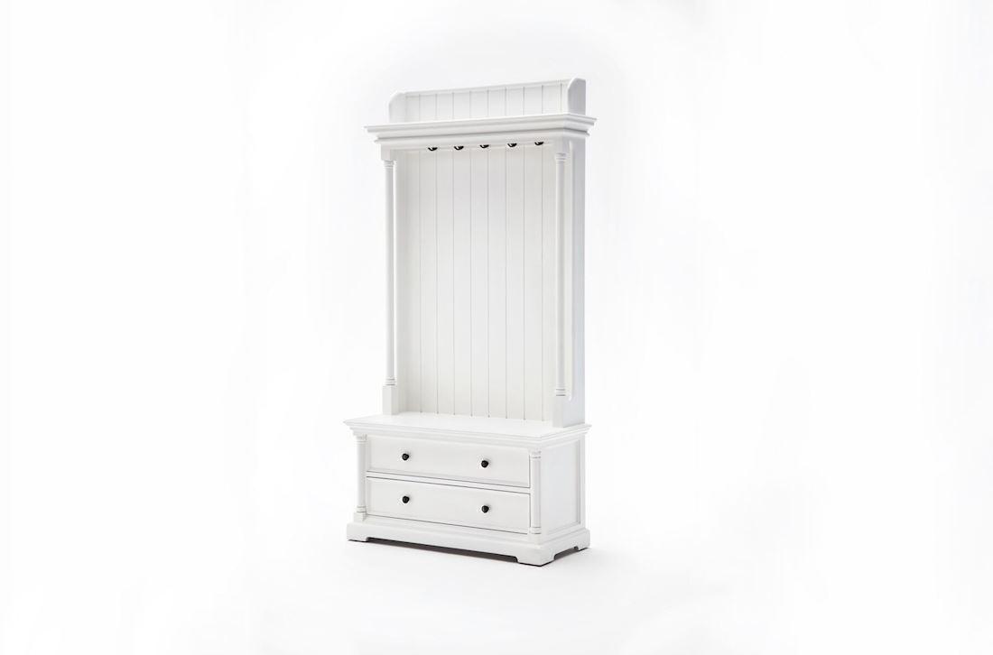 Hall entremøbel med indbygget bænk, skuffer, hylde og knager hvidt ...
