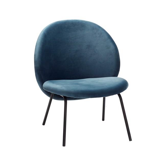 Image of   Loungestol, metalben, sort/blå, velour fra Hübsch